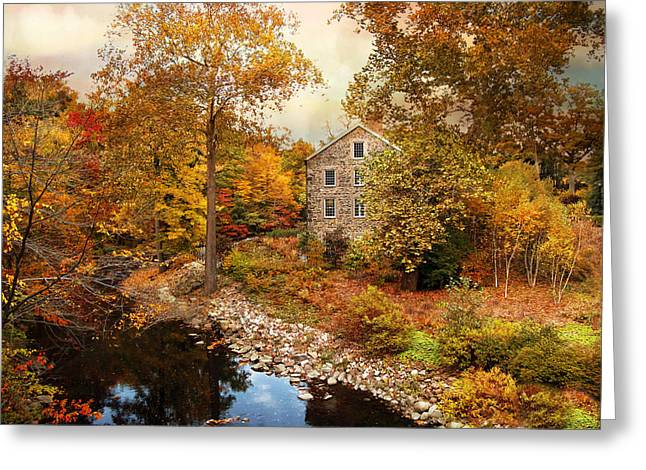 Autumn Landscape Digital Greeting Cards - The Stone Mill in Autumn Greeting Card by Jessica Jenney