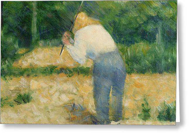 Georges Pierre Greeting Cards - The Stonebreaker Greeting Card by Georges Pierre Seurat
