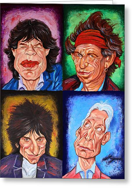 Mick Jagger And Keith Richards Greeting Cards - The ROLLING STONES Greeting Card by Dan Haraga