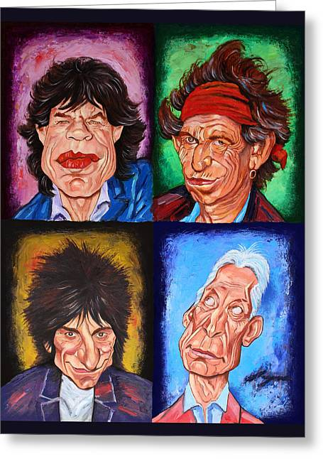 Pop Singer Mixed Media Greeting Cards - The ROLLING STONES Greeting Card by Dan Haraga