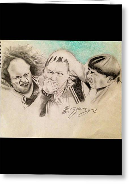 Etc. Drawings Greeting Cards - The Stooge Legends Greeting Card by Mario Jimenez