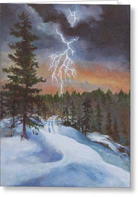 Winter Storm Greeting Cards - The Storm  Greeting Card by Beke Lemke