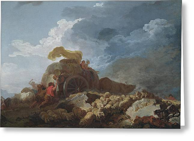 Pushing Greeting Cards - The Storm, C.1759 Oil On Canvas Greeting Card by Jean-Honore Fragonard