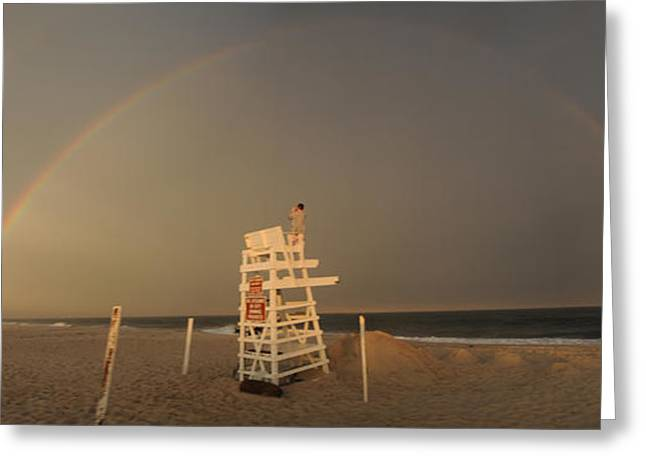 Double Rainbow Greeting Cards - The Storm is Over - Double Rainbow Greeting Card by SWAMP Online