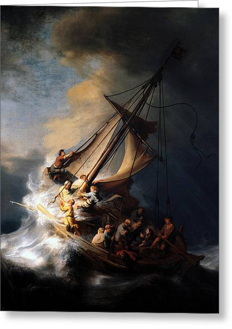 Jesus Mixed Media Greeting Cards - The Storm on the Sea of Galilee Greeting Card by Rembrandt