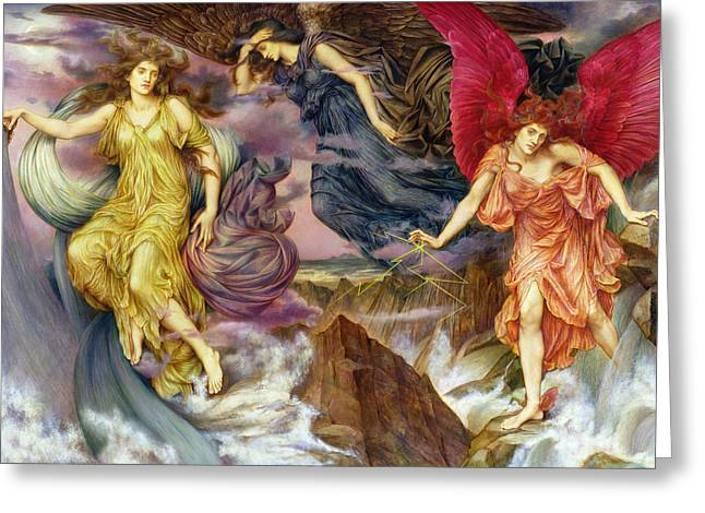 Williams Greeting Cards - The Storm Spirits Greeting Card by Evelyn De Morgan