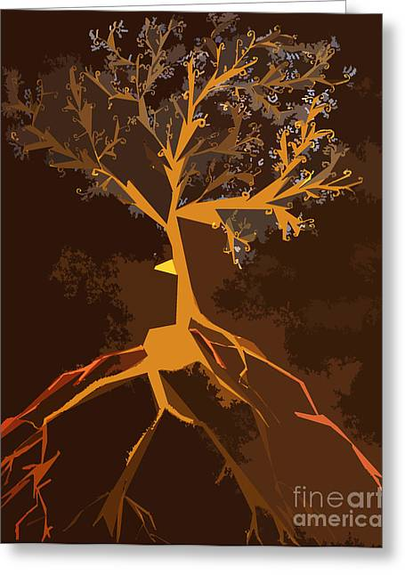 Tree Roots Mixed Media Greeting Cards - The Stormy Tree Greeting Card by Alisa Bogodarova