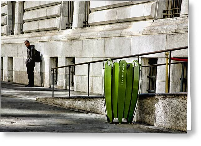 Bryant Greeting Cards - The Story of Him Waiting and a Green Trashcan Greeting Card by Joanna Madloch
