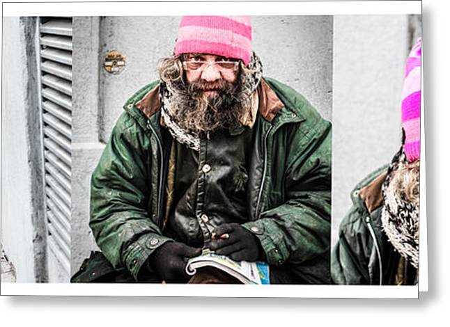 Self-portrait Greeting Cards - The Story of the pink hat vagabond guy Greeting Card by Stwayne Keubrick
