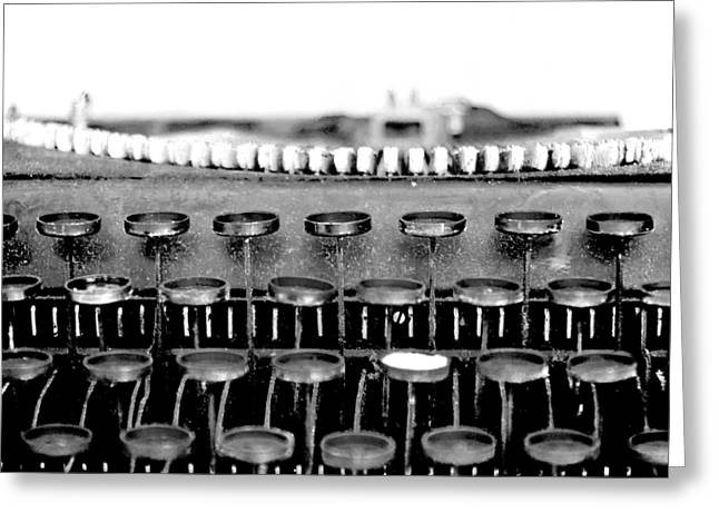 Typewriter Greeting Cards - The Story Told BW Greeting Card by Angelina Vick