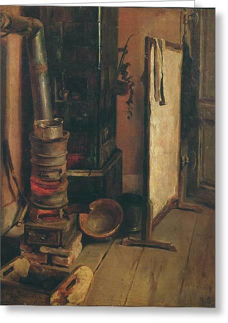 Atelier Greeting Cards - The Stove Oil On Canvas Greeting Card by Ferdinand Victor Eugene Delacroix