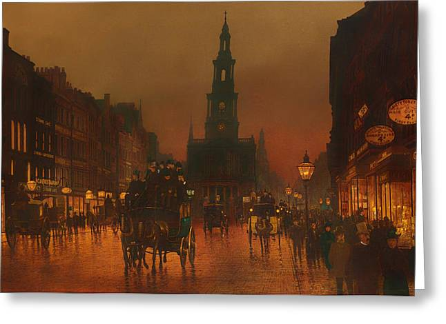 Historic England Paintings Greeting Cards - The Strand - London 1899 Greeting Card by Grimshaw