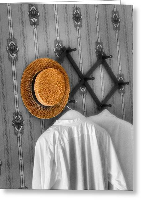 Hanging Laundry Greeting Cards - The Straw Boater Vintage Hat Greeting Card by Dan Sproul