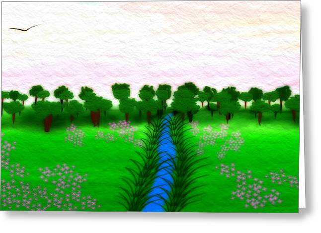 Manley Greeting Cards - The Stream - A Digital Painting Greeting Card by Gina Lee Manley