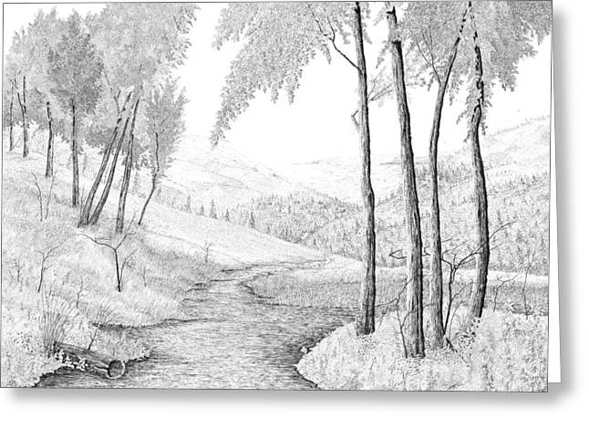 Pen And Ink Framed Prints Greeting Cards - The Stream Greeting Card by Carl Genovese