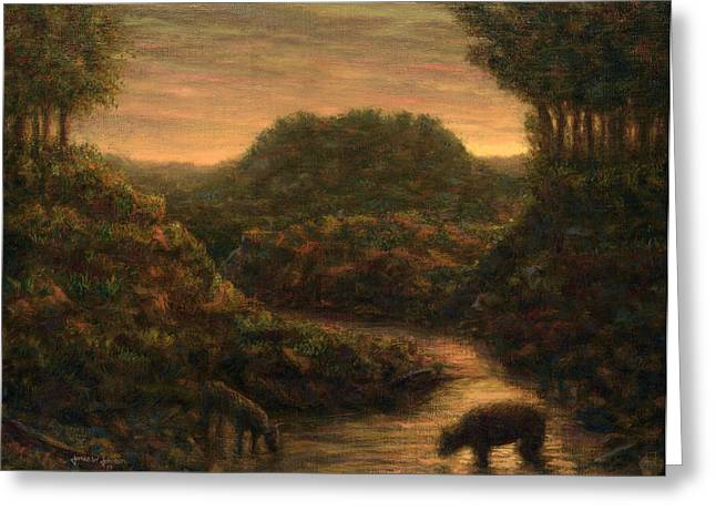 Masterpiece Paintings Greeting Cards - The Stream Greeting Card by James W Johnson