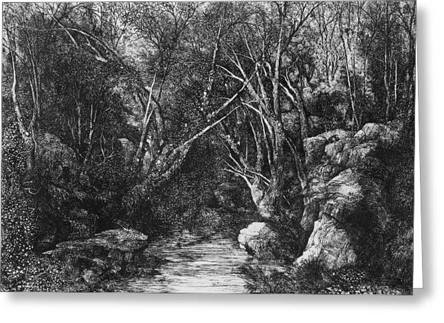Natural Pastels Greeting Cards - The Stream through the trees Greeting Card by Rodolphe Bresdin