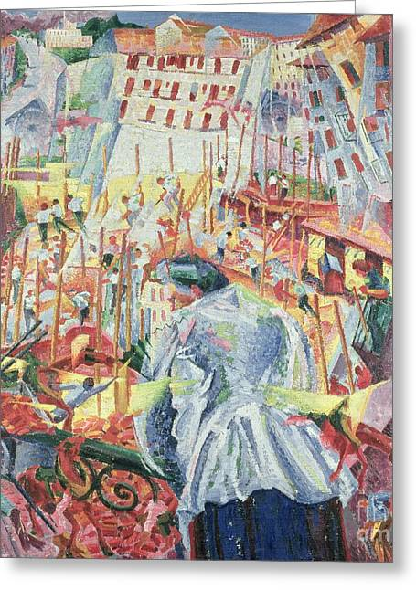 Umberto Boccioni Greeting Cards - The Street Enters the House Greeting Card by Umberto Boccioni