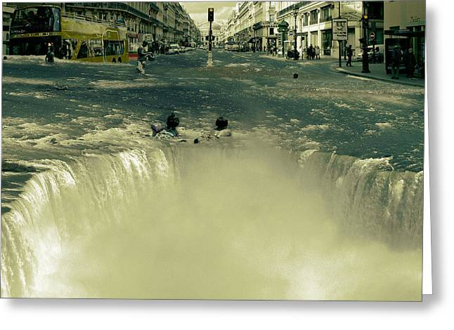 """""""photo Manipulation"""" Mixed Media Greeting Cards - The Street Fall Greeting Card by Marian Voicu"""