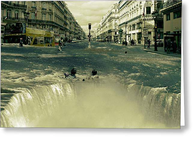 Digital Collage Greeting Cards - The Street Fall Greeting Card by Marian Voicu