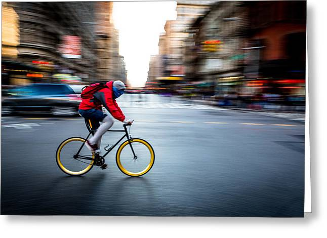 Runner Greeting Cards - The streets Greeting Card by Joshua Berman