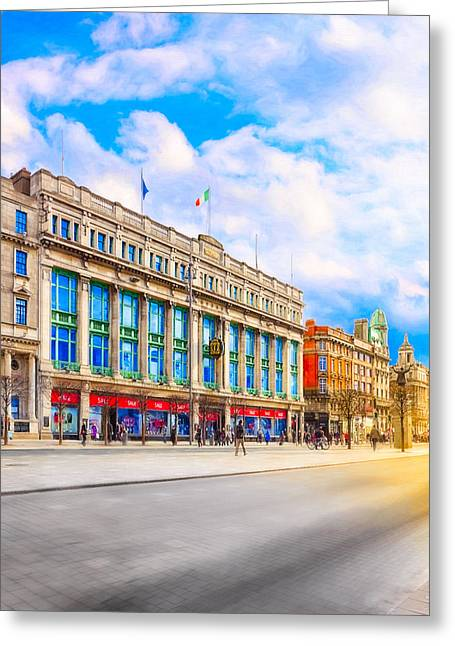 Old And Beautiful Greeting Cards - The Streets Of Dublin Ireland Greeting Card by Mark Tisdale