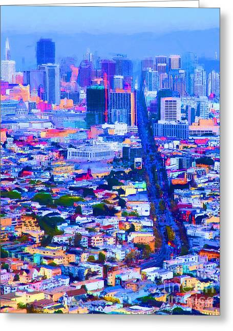 Sf Peaks Greeting Cards - The Streets of San Francisco 5D28040 vertical Greeting Card by Wingsdomain Art and Photography