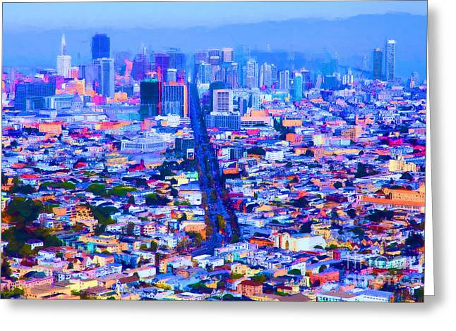 Downtown San Francisco Greeting Cards - The Streets of San Francisco 5D28040 Greeting Card by Wingsdomain Art and Photography