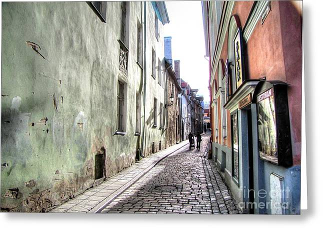 People Pyrography Greeting Cards - the streets of Tallinn Greeting Card by Yury Bashkin