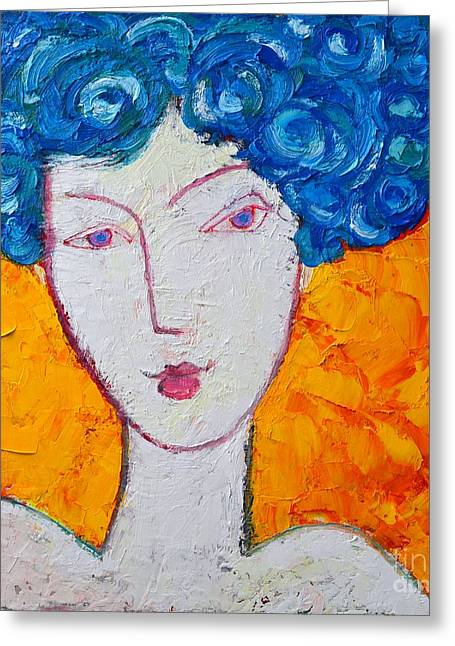 Abstract Expression Greeting Cards - The Strength Of Grace Expressionist Girl Portrait Greeting Card by Ana Maria Edulescu