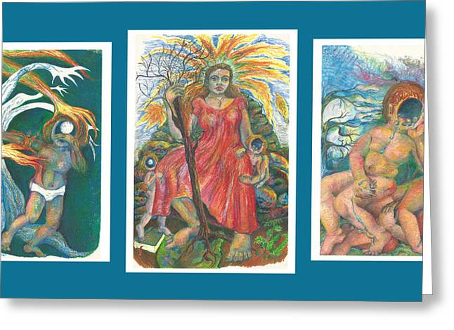 Weeping Drawings Greeting Cards - The Strength Tryptic Greeting Card by Melinda Dare Benfield