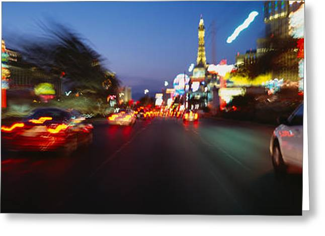 The Strip At Dusk, Las Vegas, Nevada Greeting Card by Panoramic Images