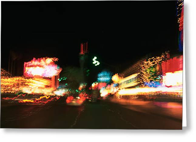 The Strip Greeting Cards - The Strip At Night, Las Vegas, Nevada Greeting Card by Panoramic Images