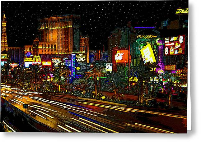 Las Vegas Art Greeting Cards - The Strip Greeting Card by David Lee Thompson