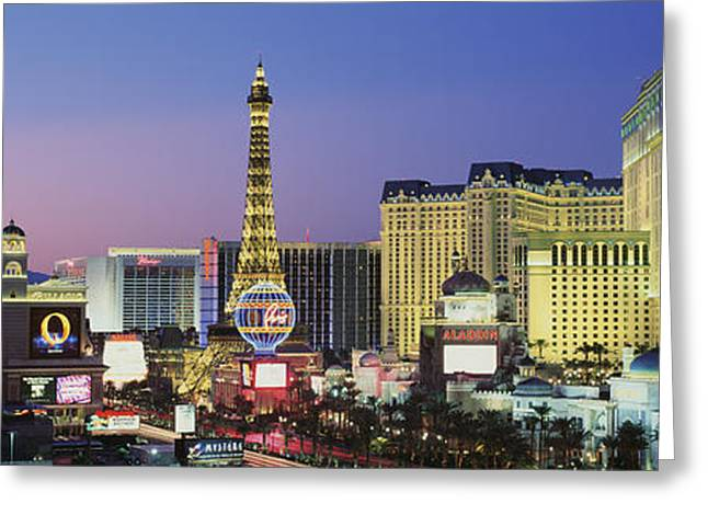 Paris In Lights Greeting Cards - The Strip Dusk Las Vegas Nv Usa Greeting Card by Panoramic Images