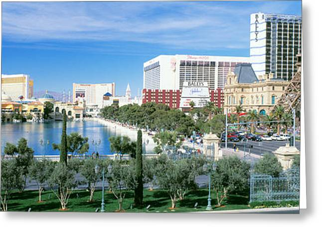 Famous Buildings Greeting Cards - The Strip Las Vegas Nv Greeting Card by Panoramic Images