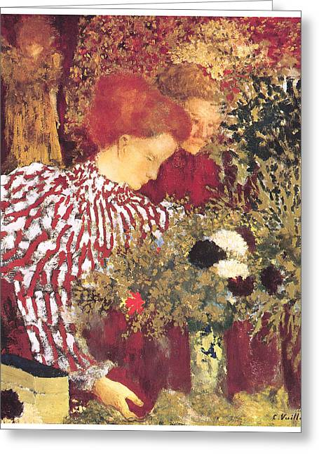 Striped Blouse Greeting Cards - The Striped Blouse Greeting Card by Edouard Vuillard