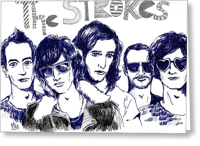 Rocks Drawings Greeting Cards - The Strokes Greeting Card by Mils Gan