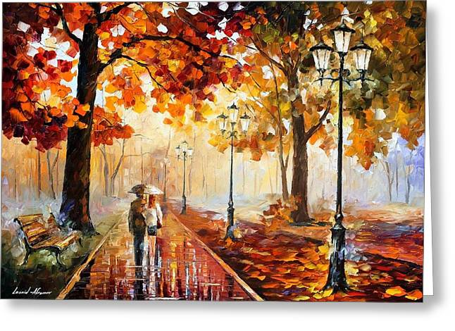 Park Scene Paintings Greeting Cards - The Stroll Of Infinity Greeting Card by Leonid Afremov