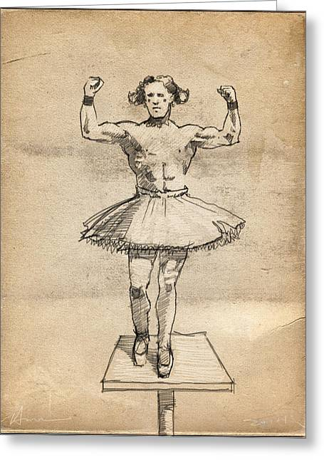The Strongman Greeting Card by H James Hoff