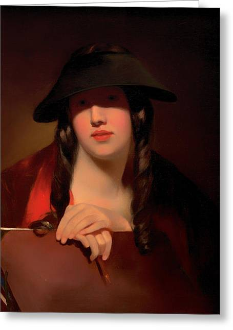 Pencil On Canvas Paintings Greeting Cards - The Student Greeting Card by Thomas Sully