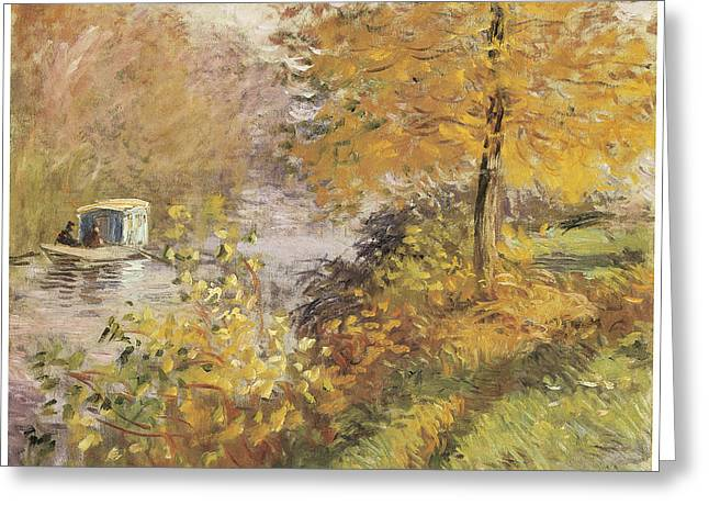 Fall Scenes Greeting Cards - The Studio Boat Greeting Card by Claude Monet