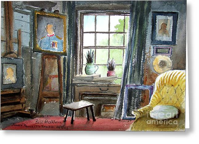 Interior Watercolour Greeting Cards - The Studio Of Juliet Pannett Greeting Card by Bill Holkham
