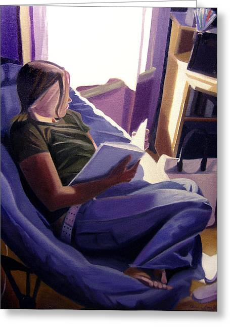 Futon Greeting Cards - The Study Greeting Card by JJ Long