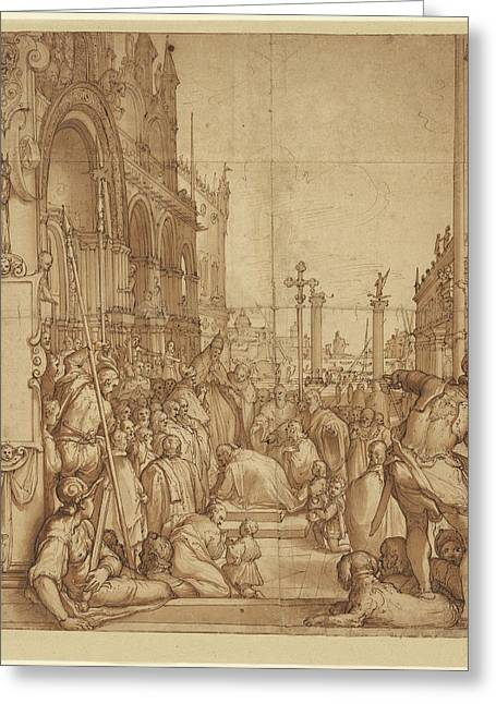 The Submission Of The Emperor Frederick Barbarossa To Pope Greeting Card by Litz Collection
