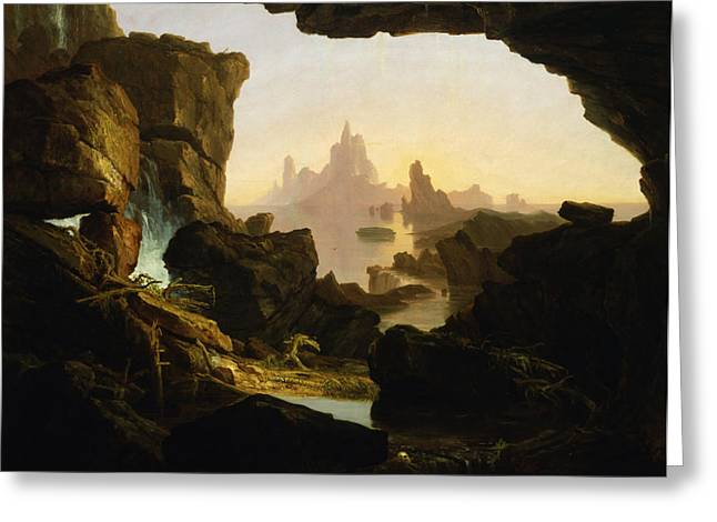 Thomas Cole Greeting Cards - The Subsiding of the Waters of the Deluge Greeting Card by Thomas Cole