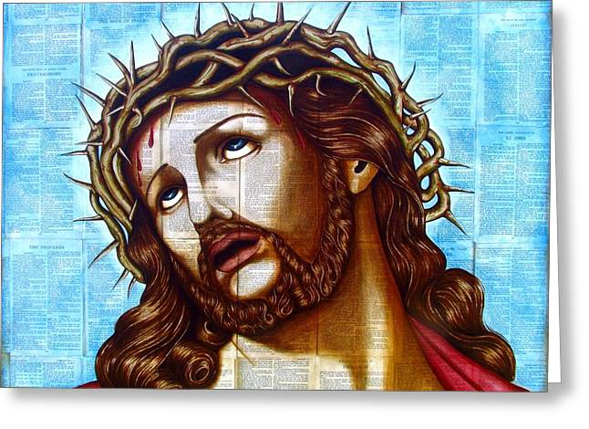 Jesus Mixed Media Greeting Cards - The Suffering Christ Greeting Card by Joseph Sonday
