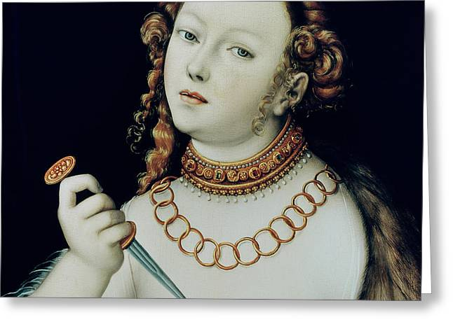 The Suicide Of Lucretia Greeting Card by Lucas the Elder Cranach