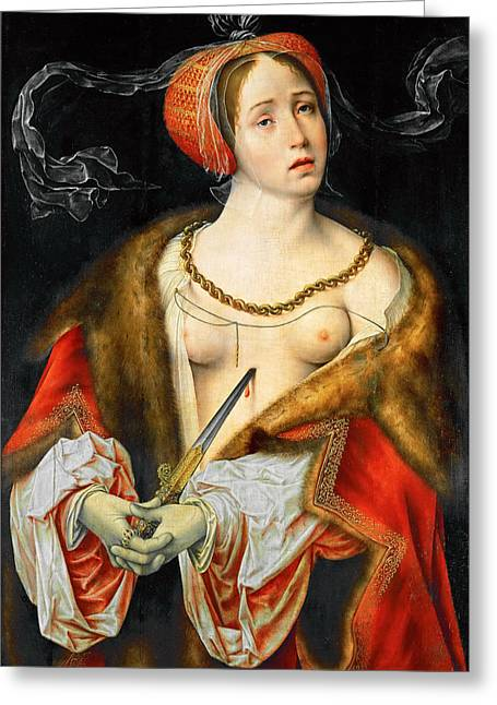 Cleves Greeting Cards - The Suicide of Lucretia Greeting Card by Joos van Cleve