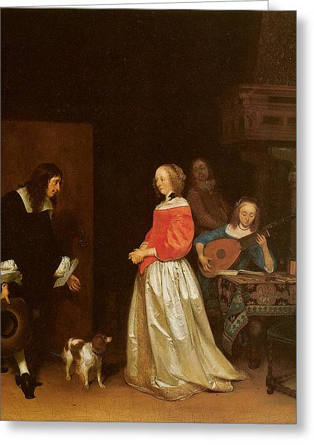 Gerard Terborch Greeting Cards - The Suitors Visit Greeting Card by Gerard Terborch